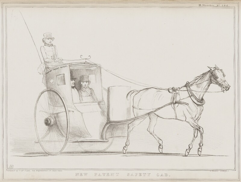 New Patent Safety Cab (Daniel Whittle Harvey; Sir Robert Peel, 2nd Bt; John Russell; 1st Earl Russell), by John ('HB') Doyle, printed by  Alfred Ducôte, published by  Thomas McLean, published 14 June 1839 - NPG D41530 - © National Portrait Gallery, London