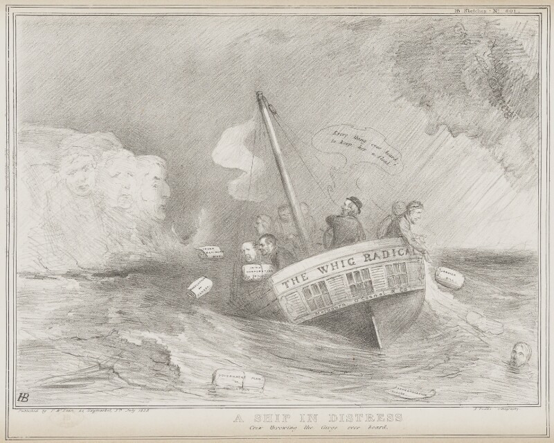 A Ship in Distress, by John ('HB') Doyle, printed by  Alfred Ducôte, published by  Thomas McLean, published 5 July 1839 - NPG D41535 - © National Portrait Gallery, London