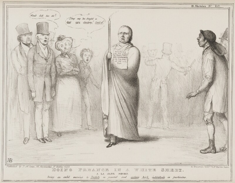 Doing Penance in a White Sheet, by John ('HB') Doyle, printed by  Alfred Ducôte, published by  Thomas McLean, published 17 October 1839 - NPG D41551 - © National Portrait Gallery, London