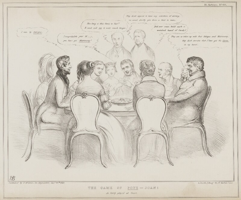 The Game of Pope Joan, by John ('HB') Doyle, printed by  Alfred Ducôte, published by  Thomas McLean, published 10 December 1839 - NPG D41556 - © National Portrait Gallery, London
