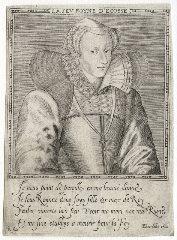Mary, Queen of Scots, by Leonard Gaultier, published by  Pierre Gourdelle, after 1587 - NPG D42632 - © National Portrait Gallery, London