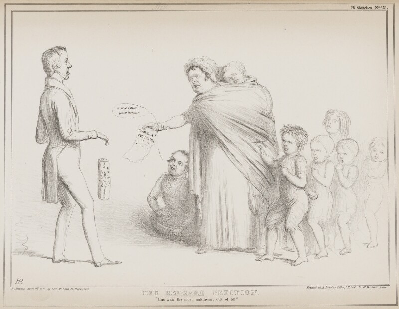 The Beggar's Petition (George William Frederick Howard, 7th Earl of Carlisle; Richard Lalor Sheil; Daniel O'Connell), by John ('HB') Doyle, printed by  Alfred Ducôte, published by  Thomas McLean, published 9 April 1840 - NPG D41565 - © National Portrait Gallery, London