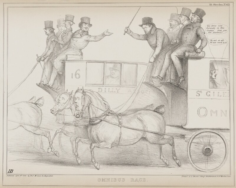 Omnibus Race, by John ('HB') Doyle, printed by  Alfred Ducôte, published by  Thomas McLean, published 9 April 1840 - NPG D41567 - © National Portrait Gallery, London