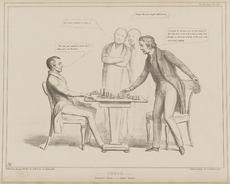 Chess, by John ('HB') Doyle, printed by  Alfred Ducôte, published by  Thomas McLean, published 6 August 1840 - NPG D41581 - © National Portrait Gallery, London