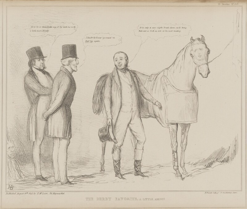 The Derby Favorite, a Little Amiss!, by John ('HB') Doyle, printed by  Alfred Ducôte, published by  Thomas McLean, published 6 August 1840 - NPG D41582 - © National Portrait Gallery, London
