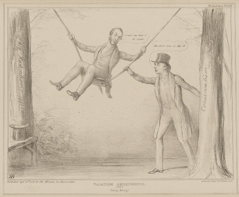 Vacation Amusements. (No.2.) Swing, Swong! (Charles Wood, 1st Viscount Halifax; Henry George Grey, 3rd Earl Grey), by John ('HB') Doyle, printed by  Alfred Ducôte, published by  Thomas McLean, published 14 September 1840 - NPG D41586 - © National Portrait Gallery, London