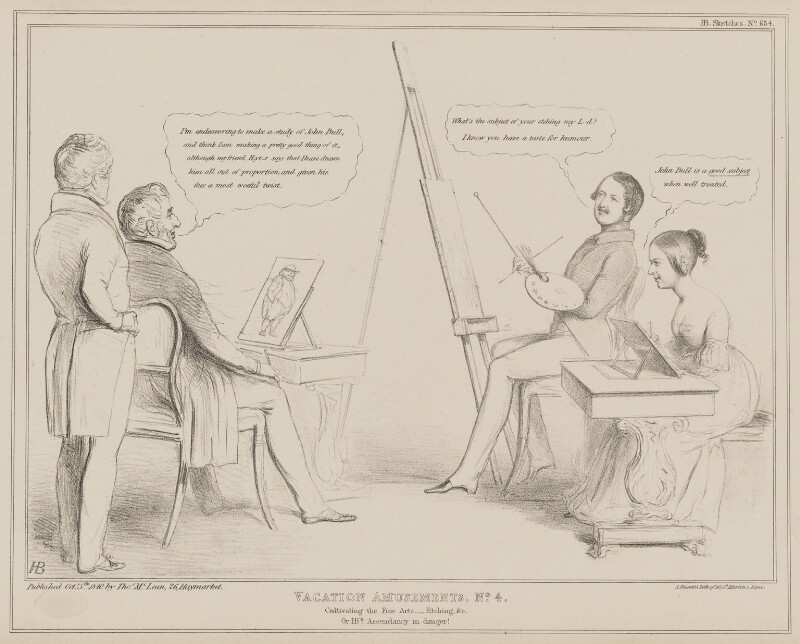 Vacation Amusements. No.4. Cultivating the Fine Arts. - Etching, &c., by John ('HB') Doyle, printed by  Alfred Ducôte, published by  Thomas McLean, published 5 October 1840 - NPG D41588 - © National Portrait Gallery, London