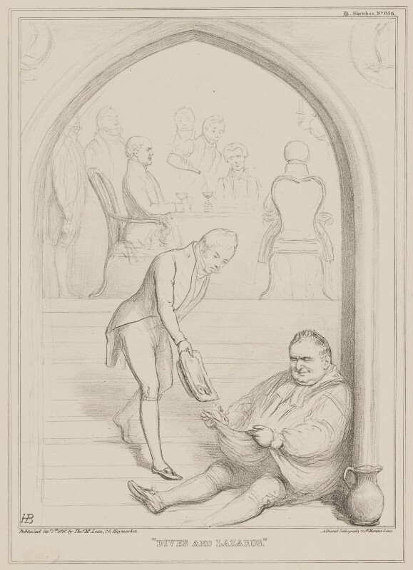 Dives and Lazarus (Charles James Blomfield; William Howley; Sydney Smith), by John ('HB') Doyle, printed by  Alfred Ducôte, published by  Thomas McLean, published 7 October 1840 - NPG D41590 - © National Portrait Gallery, London
