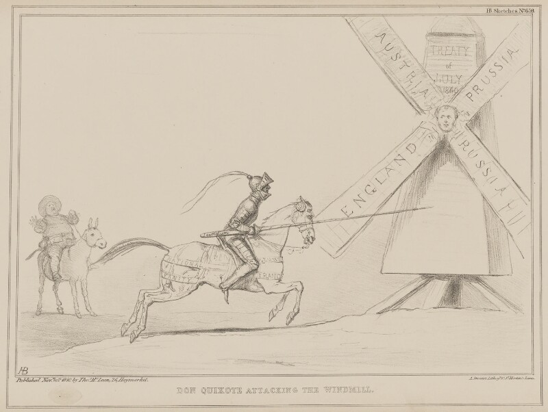 Don Quixote Attacking the Windmill, by John ('HB') Doyle, printed by  Alfred Ducôte, published by  Thomas McLean, published 16 November 1840 - NPG D41593 - © National Portrait Gallery, London