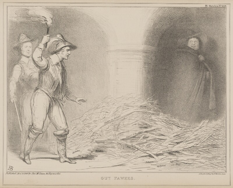 Guy Fawkes (Sir Robert Peel, 2nd Bt; Edward Stanley, 14th Earl of Derby; Daniel O'Connell), by John ('HB') Doyle, printed by  Alfred Ducôte, published by  Thomas McLean, published 16 November 1840 - NPG D41594 - © National Portrait Gallery, London