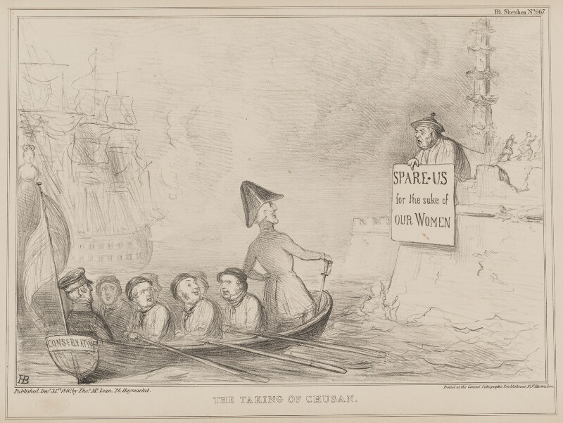The Taking of Chusan, by John ('HB') Doyle, printed by  General Lithographic Establishment, published by  Thomas McLean, published 31 December 1840 - NPG D41601 - © National Portrait Gallery, London