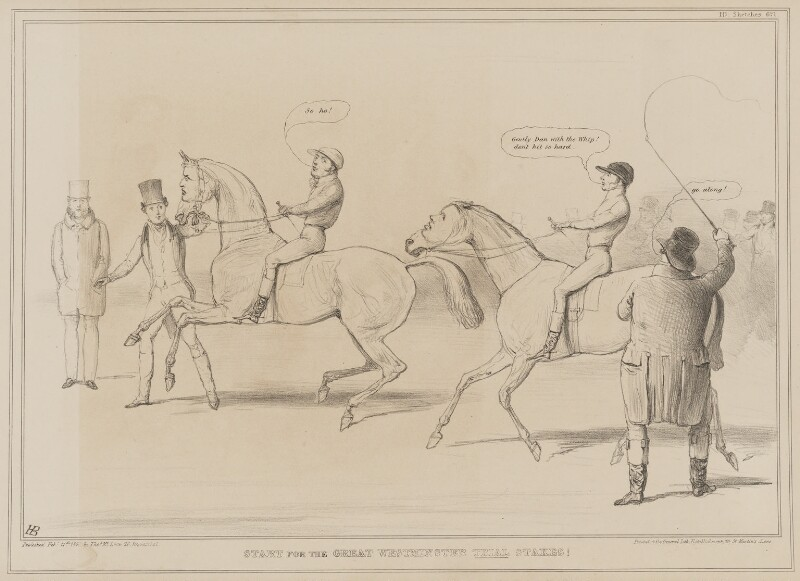 Start for the Great Westminster Trial Stakes!, by John ('HB') Doyle, published by  Thomas McLean, printed by  General Lithographic Establishment, published 11 February 1841 - NPG D41604 - © National Portrait Gallery, London