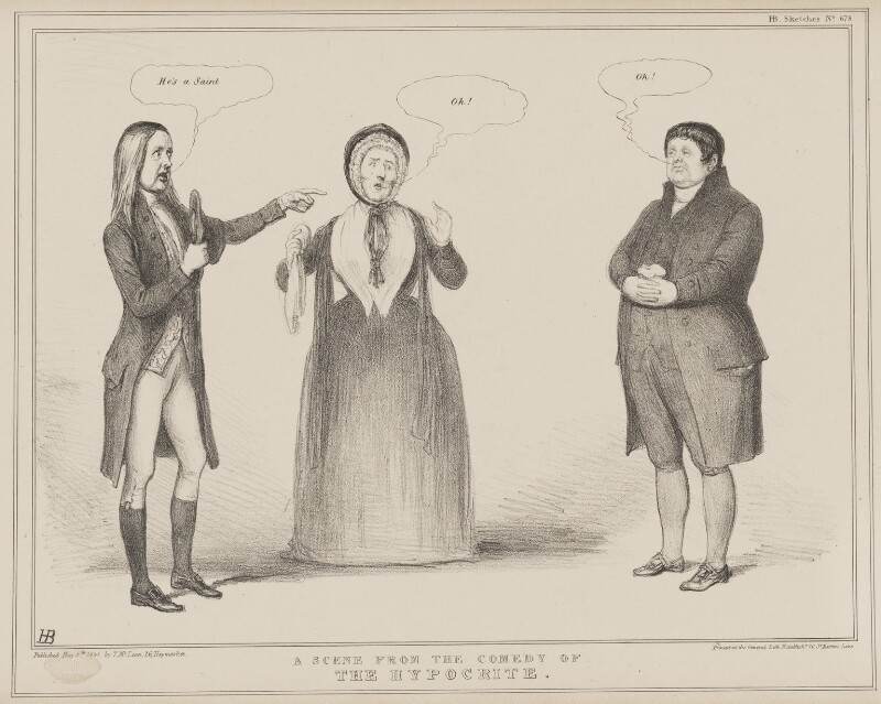 A Scene from the Comedy of the Hypocrite, by John ('HB') Doyle, published by  Thomas McLean, printed by  General Lithographic Establishment, published 5 May 1841 - NPG D41611 - © National Portrait Gallery, London