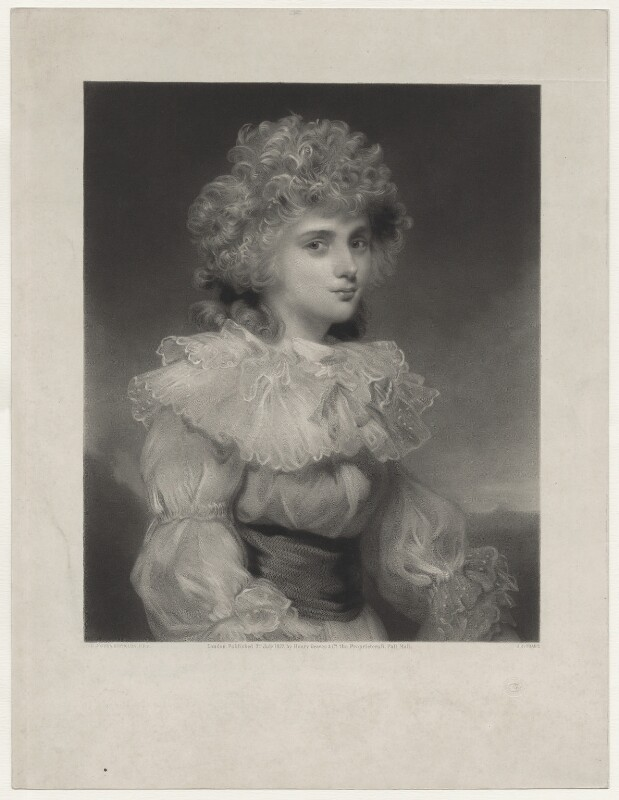 Elizabeth Christiana Cavendish (née Hervey), Duchess of Devonshire when Lady Elizabeth Foster, by James John Chant, published by  Henry Graves & Co, after  Sir Joshua Reynolds, published 1877 - NPG D42648 - © National Portrait Gallery, London