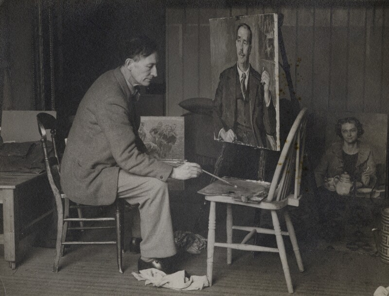 Henry Lamb painting his portrait of L.P. Hartley, by Unknown photographer, for  The Times, 1938 - NPG x137088 - © National Portrait Gallery, London