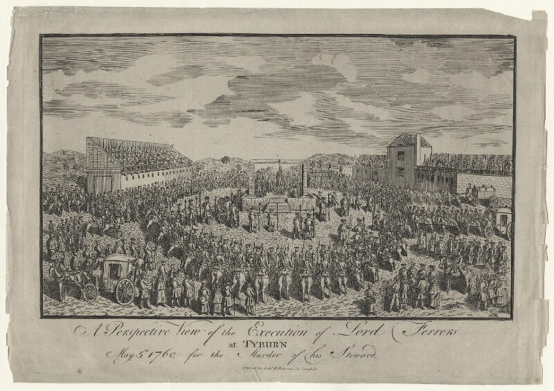 The execution of Laurence Shirley, 4th Earl Ferrers, published by Robert Wilkinson, after  Unknown artist, circa 1760 - NPG D42659 - © National Portrait Gallery, London