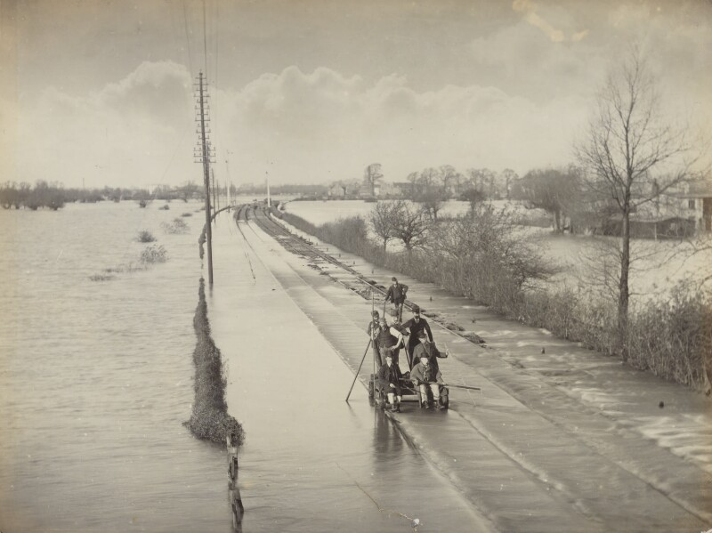 'Great Western Railway between Oxford and Kennington - Floods going down after closing the line 3 days', by Unknown photographer, November 1894 - NPG P1700(6a) - © National Portrait Gallery, London