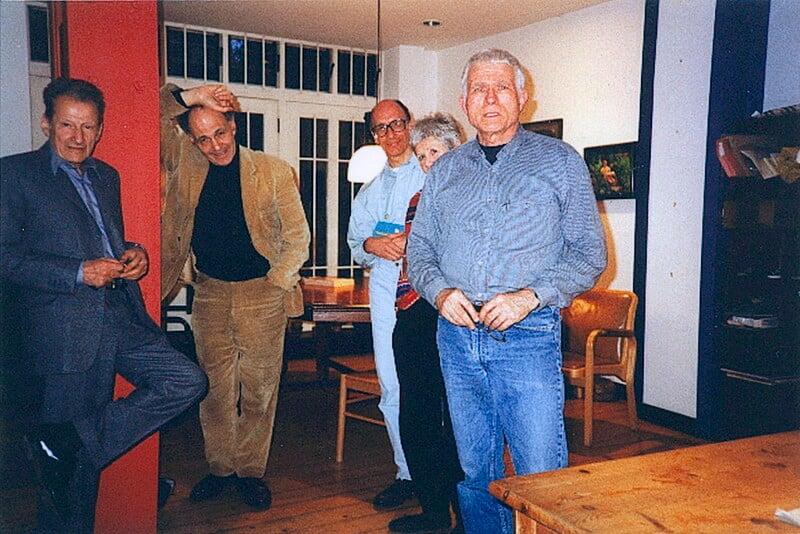 Lucian Freud, Frank Auerbach, Stephen Finer, Julia Auerbach (née Wolstenholme), R.B. Kitaj, by Max Kitaj, 21 June 1997 - NPG x137093 - © R.B. Kitaj estate