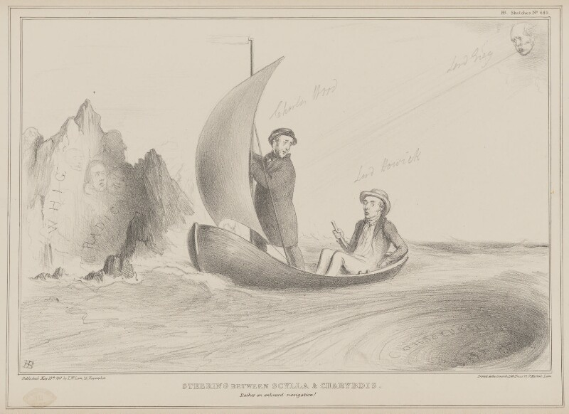 Steering between Scylla and Charybdis, by John ('HB') Doyle, published by  Thomas McLean, printed by  General Lithographic Establishment, published 19 May 1841 - NPG D41618 - © National Portrait Gallery, London