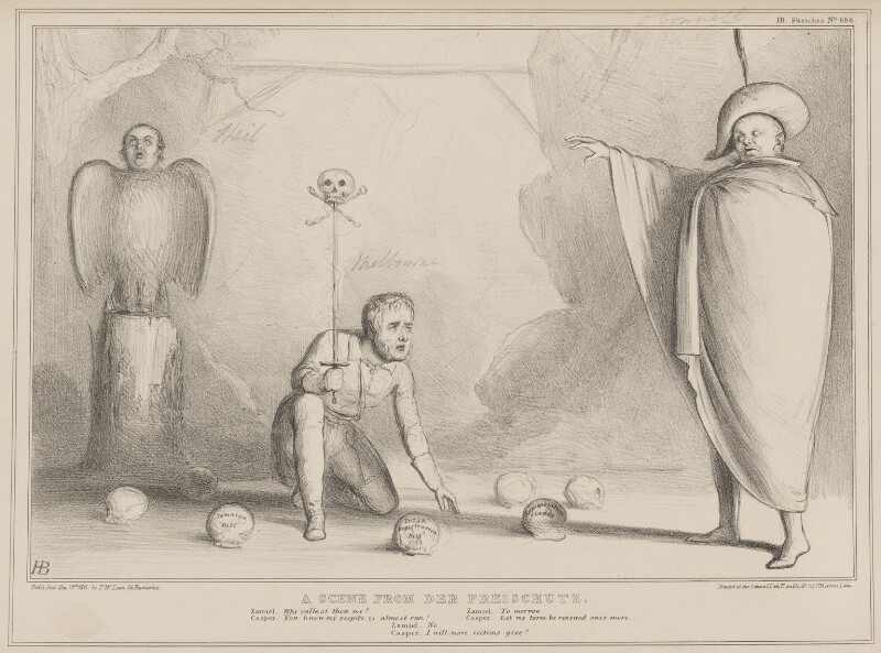 A Scene from Der Freischutz (Richard Lalor Sheil; William Lamb, 2nd Viscount Melbourne; Daniel O'Connell), by John ('HB') Doyle, published by  Thomas McLean, printed by  General Lithographic Establishment, published 19 May 1841 - NPG D41619 - © National Portrait Gallery, London