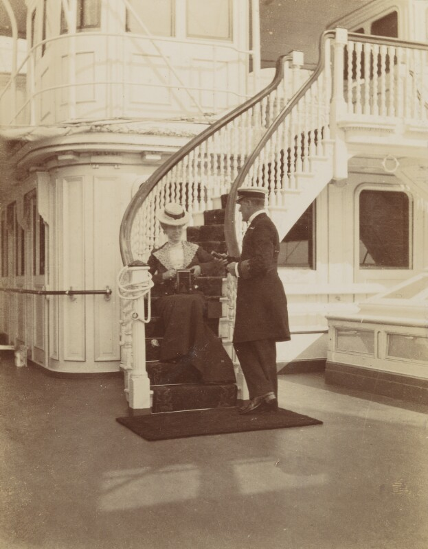Princess Victoria of Wales; Captain Anson, by Unknown photographer, August 1902 - NPG Ax137095 - © National Portrait Gallery, London