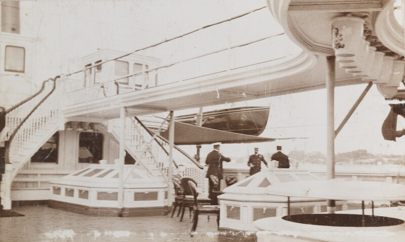 Edward VII and Louis Alexander Mountbatten, Marquess of Milford Haven on the upper deck of the 'Victoria & Albert', by Unknown photographer, circa 1904 - NPG Ax137105 - © National Portrait Gallery, London