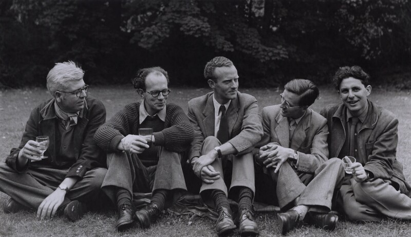 David John Murray Wright; Anthony Cronin; John Clive ('J.C.') Hall; John Smith; Dannie Abse, by Rollie McKenna, 1957 - NPG x137190 - © Rosalie Thorne McKenna Foundation; Courtesy Center for Creative Photography, University of Arizona Foundation