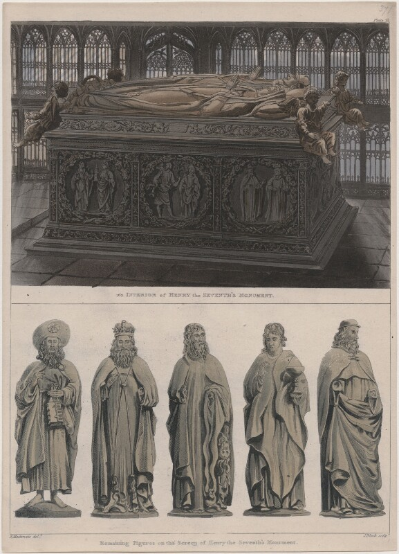 Interior of Henry the Seventh's Monument; Remaining Figures on the Screen of Henry the Seventh's Monument, by John Bluck, after  Frederick Mackenzie, published 1812 - NPG D42667 - © National Portrait Gallery, London