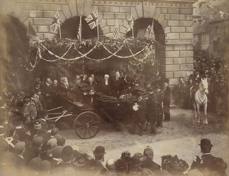 Duke and Duchess of Marlborough at Woodstock Town Hall, by Unknown photographer, April 1896 - NPG P1700(23) - © National Portrait Gallery, London