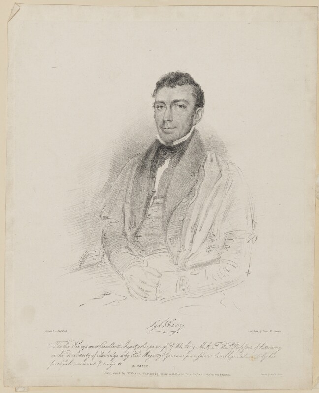 Sir George Biddell Airy, by Isaac Ware Slater, published by  W. Mason, published by  William Henry Mason, printed by  Graf & Soret, after  Thomas Charles Wageman, circa 1828-1836 - NPG D42551 - © National Portrait Gallery, London