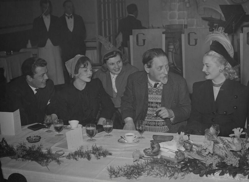 Richard Attenborough; Joan Greenwood; Sheila Sim; Compton Mackenzie; Christine Norden (née Mary Lydia Thornton), by London News Agency, 1949 - NPG x184020 - © reserved: National Portrait Gallery, London