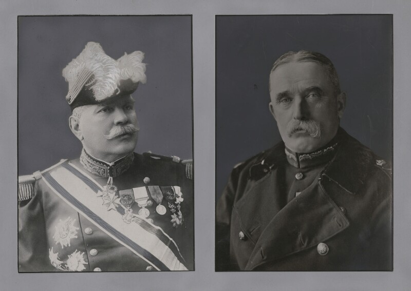 Joseph-Jacques-Césaire Joffre; John Denton Pinkstone French, 1st Earl of Ypres, by Unknown photographer, and by  Unknown photographer, published 1914 - NPG x137270 - © National Portrait Gallery, London