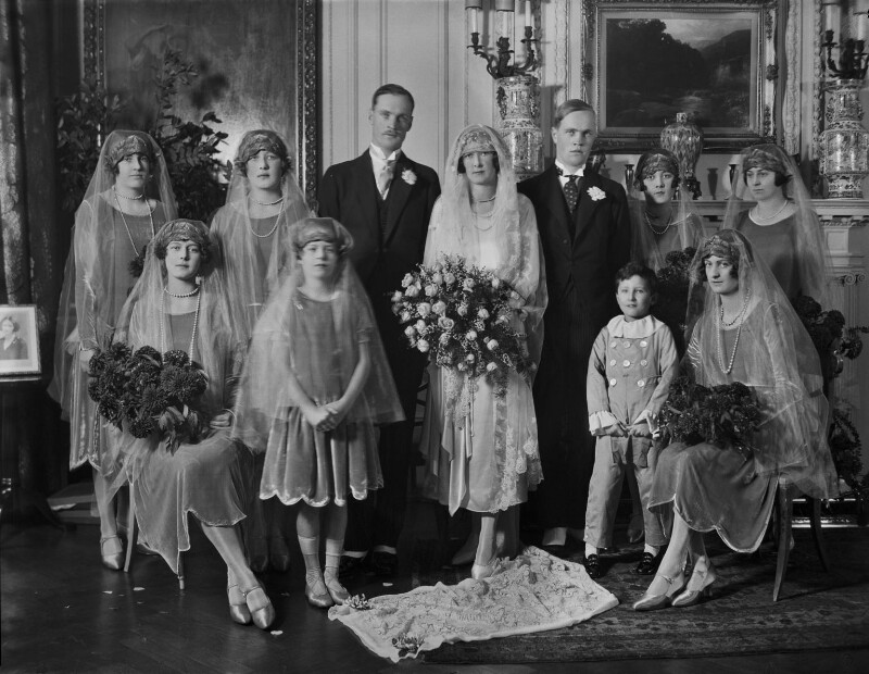 William Basil Wilberforce, Cecilia Mary Margaret Wilberforce (née Dormer) and wedding party, by Lafayette, 24 November 1926 - NPG x184549 - © National Portrait Gallery, London