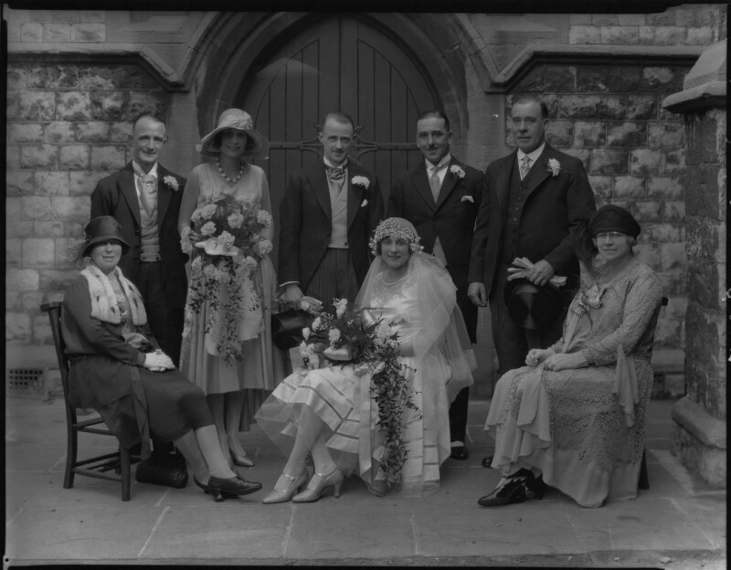 Claude Lusty, Ivy Lusty (née Kemp) and wedding party, by Lafayette, 11 September 1929 - NPG x184612 - © National Portrait Gallery, London