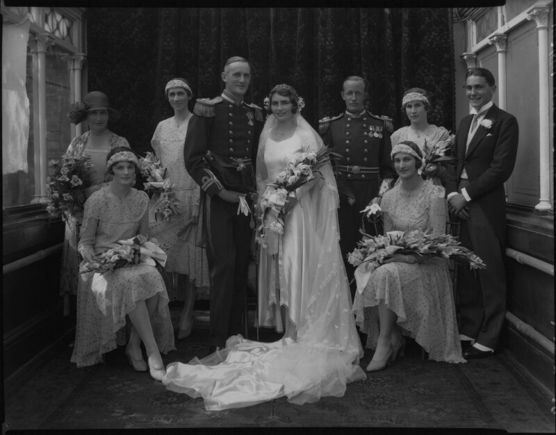 Edward Russell Gibson, 3rd Baron Ashbourne, Reta Frances Manning (née Hazeland), Lady Ashbourne and wedding party, by Lafayette, 20 July 1929 - NPG x184617 - © National Portrait Gallery, London