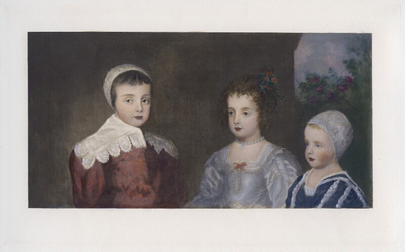 The three eldest children of Charles I (King Charles II; Mary, Princess Royal and Princess of Orange; King James II), after Sir Anthony van Dyck, published 1902 (1635) - NPG D42689 - © National Portrait Gallery, London