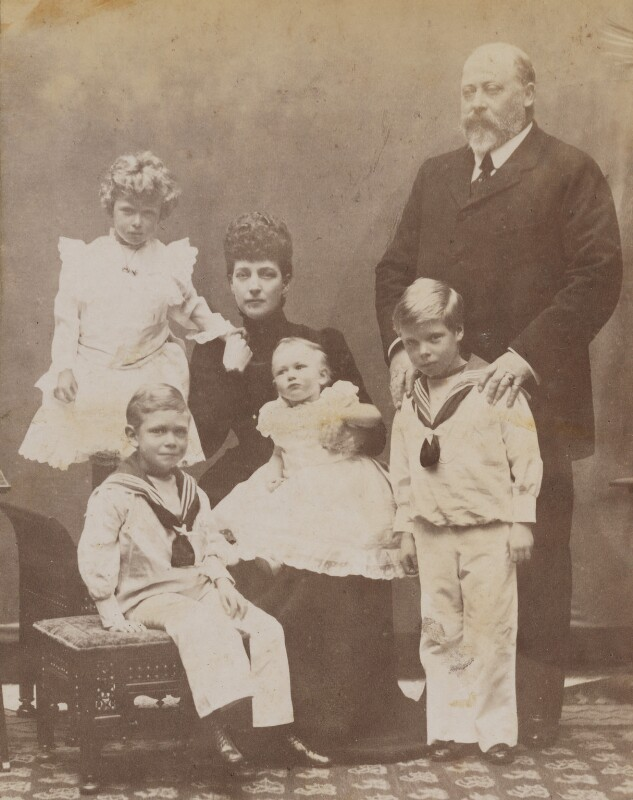 King Edward VII and Queen Alexandra with the four children of the Duke and Duchess of Cornwall & York, by Frederick William Ralph, 1901 - NPG P1700(57a) - © National Portrait Gallery, London