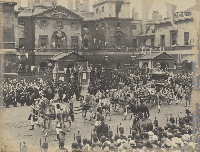 The Coronation Procession of King Edward VII outside Horse Guards, Whitehall, by Unknown photographer, 9 August 1902 - NPG P1700(63) - © National Portrait Gallery, London
