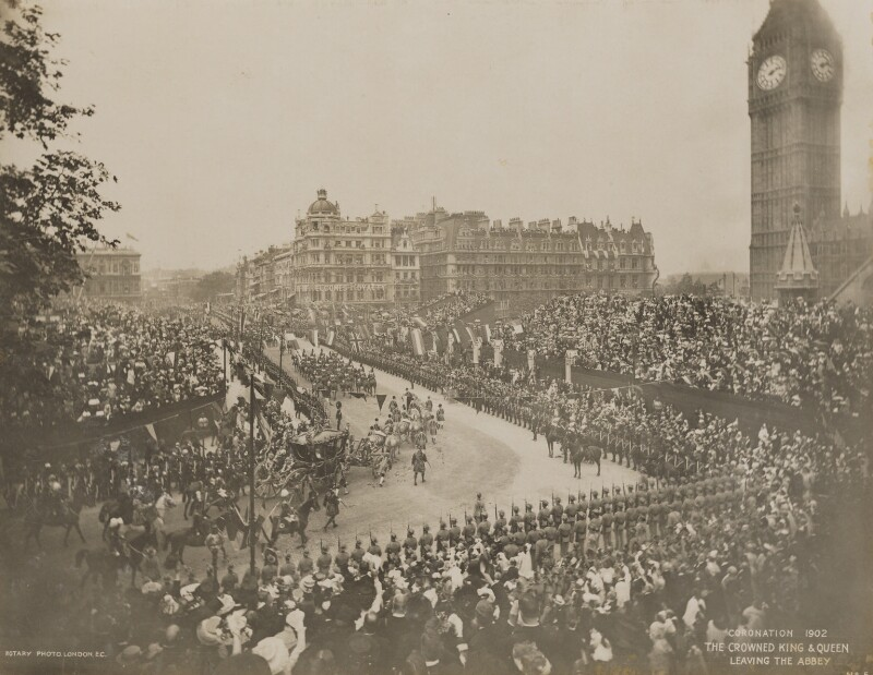 'The Crowned King & Queen Leaving the Abbey', by Rotary Photographic Co Ltd, 9 August 1902 - NPG P1700(64) - © National Portrait Gallery, London
