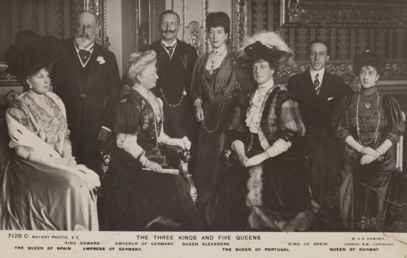 Royal group in the Crimson Drawing-Room at Windsor Castle, by William Edward Downey, for  W. & D. Downey, published by  Rotary Photographic Co Ltd, 17 November 1907 - NPG P1700(81d) - © National Portrait Gallery, London