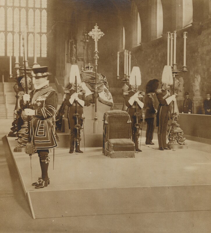 Lying in State of King Edward VII in Westminster Hall, by Unknown photographer, 17-19 May 1910 - NPG P1700(96) - © National Portrait Gallery, London