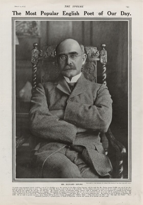 Rudyard Kipling, by Unknown photographer, published 2 August 1913 - NPG x137590 - © National Portrait Gallery, London