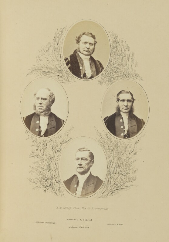George Lees Underhill; Moses Ironmonger; Henry Hartley Fowler, 1st Viscount Wolverhampton; John Hawksford, by Robert White Thrupp, published by  Edward Roden, published 1867 - NPG Ax137693 - © National Portrait Gallery, London