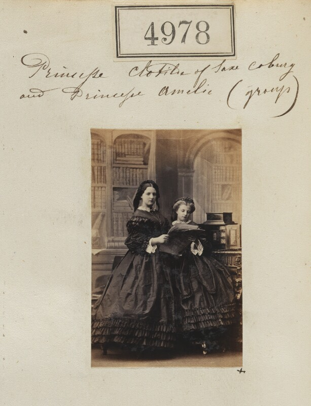 The daughters of Prince August of Saxe-Coburg and Gotha, by Camille Silvy, 17 July 1861 - NPG Ax54986 - © National Portrait Gallery, London
