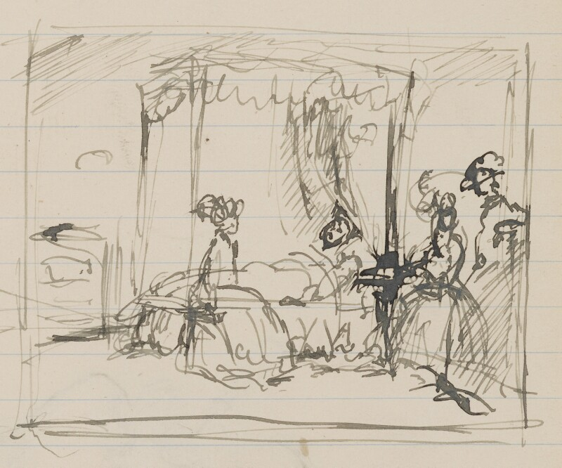 Unknown scene: invalid in bed with three female visitors, by Henry Tonks, circa 1900-1932 - NPG 3072(1a) - © National Portrait Gallery, London