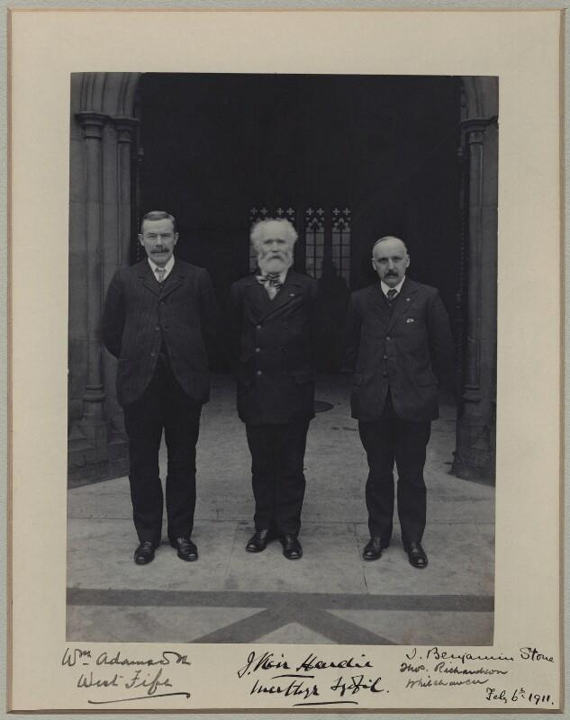 William Adamson; Keir Hardie; Thomas Richardson, by Benjamin Stone, 6 February 1911 - NPG x137724 - © National Portrait Gallery, London