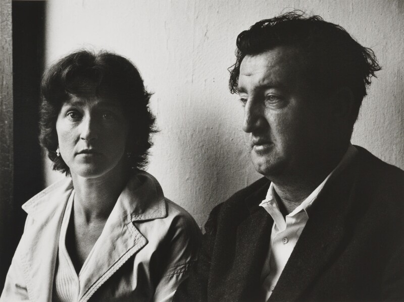Brendan Behan and Beatrice Behan (née Ffrench-Salkeld), by Michael Peto, September 1959 - NPG x137671 - © University of Dundee The Peto Collection