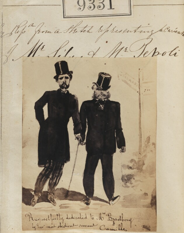 'Reproduction from a sketch representing a caricature of Mr Silvy and Mr Pepoli' (including Camille Silvy), by Camille Silvy, 1862-1866 - NPG Ax59140 - © National Portrait Gallery, London