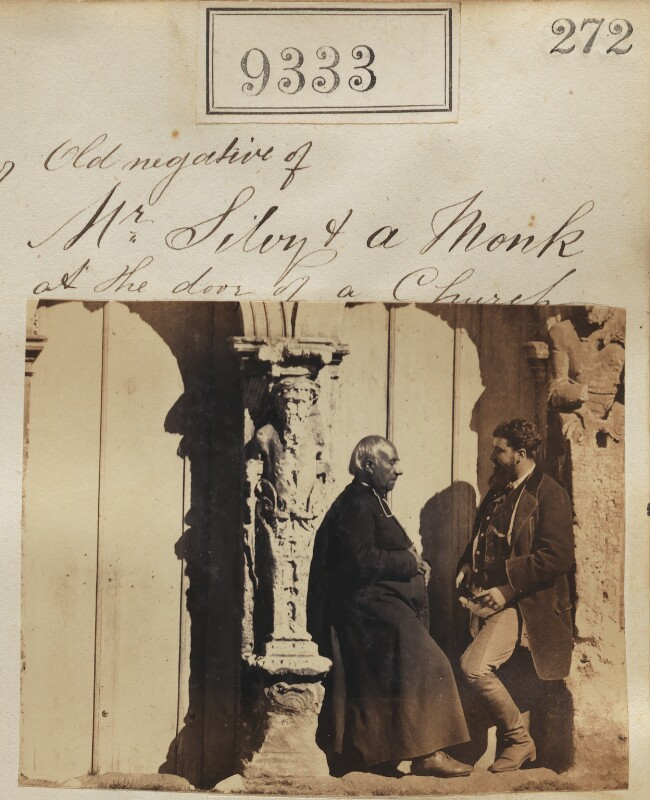 'Old negative of Mr Silvy & a monk at the door of a church' (including Camille Silvy), by Camille Silvy, 1862-1866 - NPG Ax59142 - © National Portrait Gallery, London
