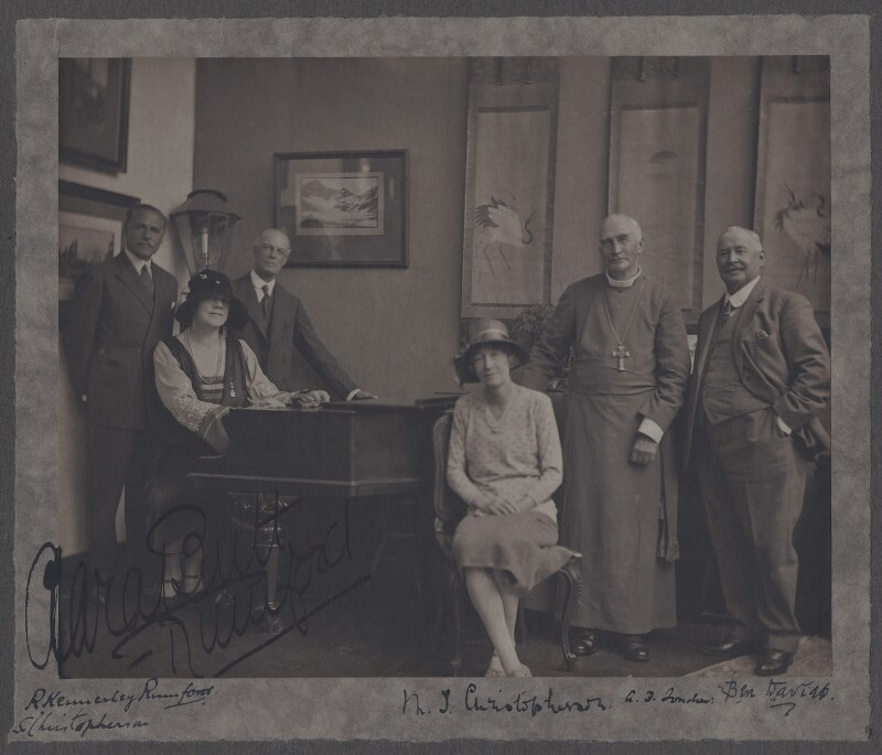 Group including Dame Clara Ellen Butt, Robert Henry Kennerley-Rumford, Benjamin Grey ('Ben') Davies, by (Mary) Olive Edis (Mrs Galsworthy), circa 1920 - NPG x137799 - © National Portrait Gallery, London